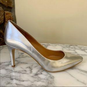 Jcrew Metallic Silver Pointed Toe Heels